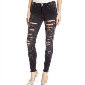 True Religion Halle Black Ripped Super Skinny Jean